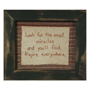 Stitcheries by Kathy Sign - Small Miracles Hanging/Standing Frame - 18.5x16cm