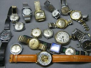 Lot of 18 Mechanical, Vintage & Automatic Men's Watches for Parts / Repair