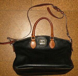 DOONEY & BOURKE BLACK PEBBLED BROWN LEATHER SHOULDER BAG PURSE