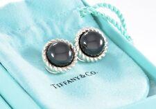 RARE Tiffany & Co Silver Flower Twist Large Black Onyx Round Stone Clip Earrings