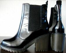 ASH QUID Lack Leder Boots Stiefel Stiefeletten Damen Black Gr.40 NEU