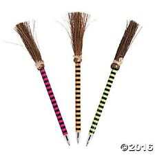 WITCH BROOM PENS (LOT OF 6 PENS) WOODEN Black Ink NEW LOT Great gifts