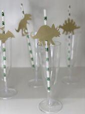24 Custom Foil Paper Straws Party Decor Dinosaur Safari Animals Rustic Birthday