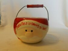 Santa Claus Is Coming To Town Round Red & White Ceramic Candy Bowl With Handle