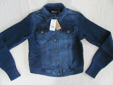 Silver Jeans Denim Joga Jacket with Knit/Sweater Sleeves-Blue- Size XS -NWT $84
