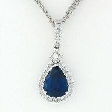 18k White Gold 4.38ctw GIA Pear Sapphire & Diamond Pendant Tear Drop Necklace