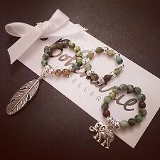 African turquoise jasper ring charm stack 3 gemstone bijoux jewellery elephant
