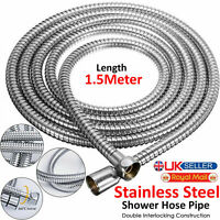 1.5M Chrome Stainless Steel Flexible Bathroom Bath Shower Head Hose Pipe Washers
