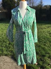DIANE VON FURSTENBERG DVF EMERALD GREEN WHITE SILK WRAP DRESS US12 UK12-14 £450