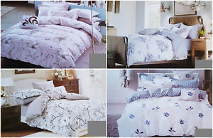 Double Size 3Pcs Cotton Colourful Flowers Two Sided Duvet Cover Bedding Set