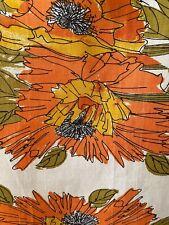 New listing  Vera Neumann Vintage Orange Gold Flowers with Olive Leaves Tea Towel-Unused