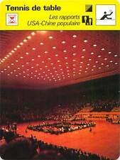FICHE CARD: Rapports USA-Chine populaire Pékin La salle de TENNIS de table 1970s