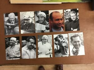 Set Of 10 Cards Of 1950s Grand Prix Drivers In Original Wallet