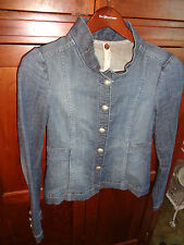 Fossil Women's Small Blue Jean Denim Jacket Vintage Dark Wash Silver Buttons