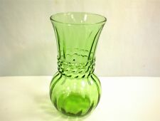 VINTAGE GREEN GLASS BALL VASE SWIRLS RINGED