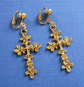 TIBETAN STYLE GOLDEN FLEUREE or TREE OF LIFE CROSS CLIP ON EARRINGS (Or Hooks)