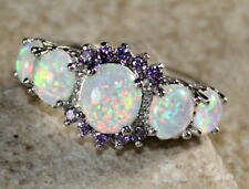 SILVER Elegant White Fire Opal & Purple Amethyst Ring Size 9, WR41601