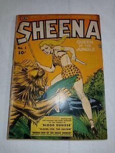 1942 SHEENA COMICS #1 Golden Age Fiction House 2.5+ ~GREAT RAW LOW GRADE COPY