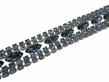 Vintage Bracelet Wide Blue Cobalt Crystal Rhinestone Silver 7.25 inch Chain 798g