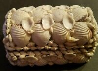 "Jewelry Box Ivory Sea Shell Treasure Chest Trinket Vintage Folk Art 5.5""X3.5""X3"""