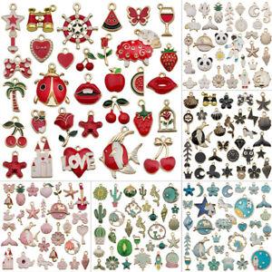 31Pcs/Set Fruit Animal Mixed Enamel Charms Pendants DIY Jewelry Making Craft ho