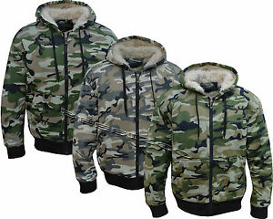 Mens Army Fur Lined Military Camo Camouflage Zip Hoodie Hooded Jacket Top M-XXXL
