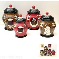 Ceramic Canisters Set of 4 Hand Painted Storage Jar Coffee Cafe Kitchen Decor