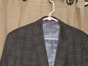 NWOT New JOHNSTON & MURPHY Mens Large Gray Glen Plaid Wool Blazer Sport Coat