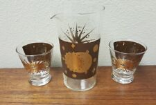 2) Fred Press Low Ball + PITCHER Mid-Century Signed Atomic Starburst Eclipse