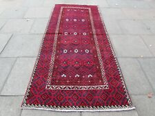 Vintage Hand Made Rug Traditional Oriental Wool Red Blue Long Rug 270x119cm