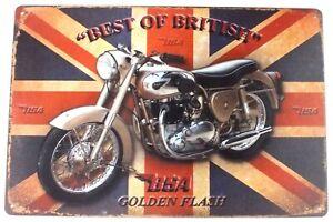 BSA Best Of British Motorcycle Metal Tin Wall Door Garage Sign Plaque 30 x 20 cm