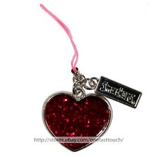 SMACKERS* Cell Phone HEART CHARM Pink String Loop RED+PINK CONFETTI ENAMEL Rare
