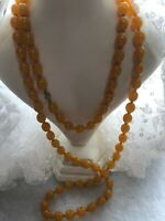 Faux Amber Beaded Necklace Flapper Length Vintage Style Jewelry Jewellery
