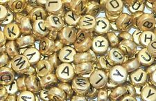 100pcs 7mm Gold Flat Round Alphabets Beads Mixed Letters