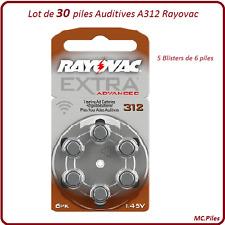 Lot de 30 piles boutons auditives A312 Rayovac, livraison rapide et gratuite