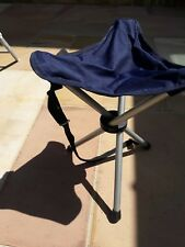 Camping tripod stool (blue) - folds up & carry strap - Ideal festivals/fishing
