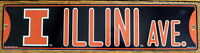 "Street Sign Illini Ave NCAA Lic.colorful picture University of Illinois 16"" x 4"""