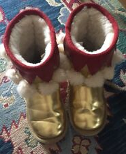 EMU Australia Kids Gold and Red Fringed boots Size 13