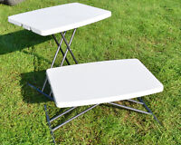 Small Folding 3 Height adjustable Camping Table Blow Moulded Folds Flat