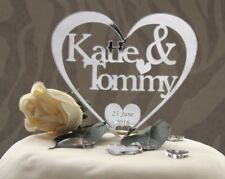 Personalised Heart Cake Topper Wedding Anniversary or Engagement Celebrations