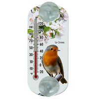 """204-1520A La Crosse 8"""" Indoor/Outdoor Clear Window Thermometer - Robin"""