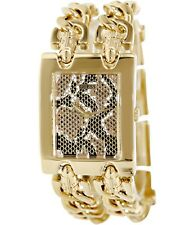 NEW-GUESS 2 STRANDS GOLD TONE S/STEEL CHAIN LINKS+LEOPARD DIAL WATCH U12554L1