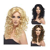 Adult Ladies 80s Retro Diva Superhero Curly Glamour Wig Fancy Dress Accessory