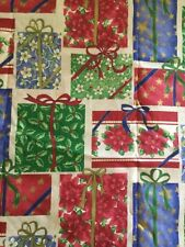 """CHRISTMAS PRESENTS FABRIC GOLD EMBELLISHMENTS 43"""" WIDE BTY"""