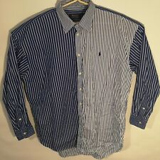 Men's Polo Ralph Lauren L/S Blue White Color Block Striped Button Up Dress Shirt