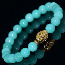 Men's Fashion Natural Amazonite Gold Buddha Lucky Energy Bracelet 8mm Beads