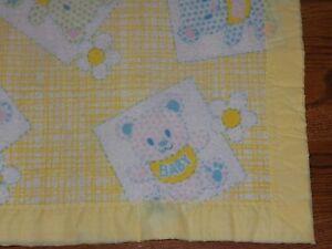 "Vintage YELLOW Baby Blanket Trim Binding 40"" x 44"" BEARS & POLKA DOTS"