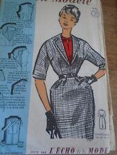 ANCIEN PATRON ECHO DE LA MODE French Pattern 1960 ROBE DECOLLETE EN POINTE T 44