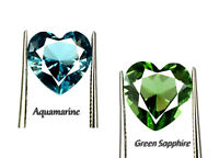 Heart Shape 5.90 Ct Green Sapphire & Aquamarine Gemstone Pair Natural Certified