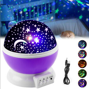 Rotation LED Night Light Projector Kids Ceiling Star Sky Moon Baby Bedroom Gift